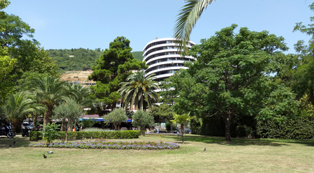 green park in Budva in summer - Montenegro sea resort