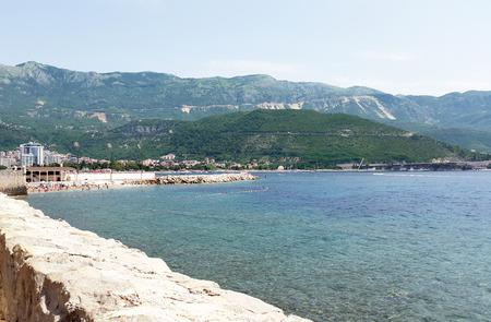 bay near Budva with beach and mountains - Montenegro resort on Adriatic Sea