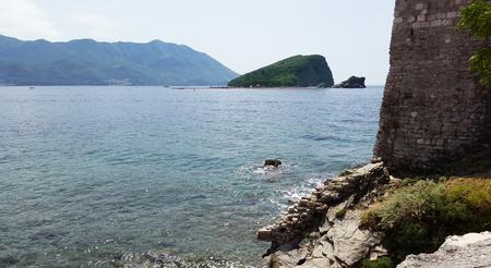 Sveti Nikola Island in Budva bay - Montenegro Adriatic resort Stock Photo
