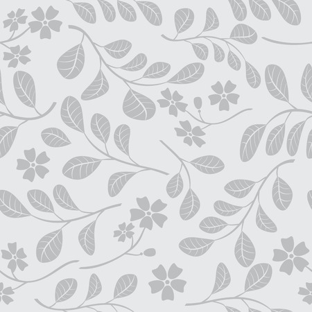 grey seamless pattern with floral branches - vector decorative background Illustration