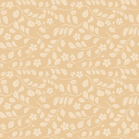 beige seamless pattern with floral branches - vector decorative background Illustration