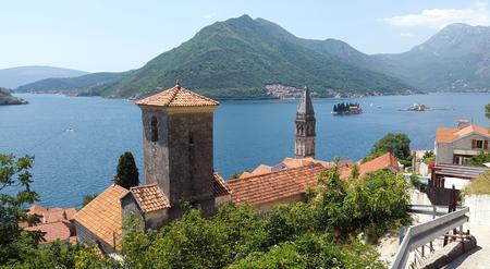 Bay of Kotor in Montenegro - Boka Kotorska - view from Perast town to islands and green hills