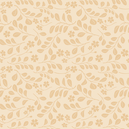 light beige seamless pattern with floral branches - vector decorative background