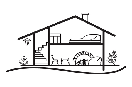 open vector scheme of house - silhouette and interior
