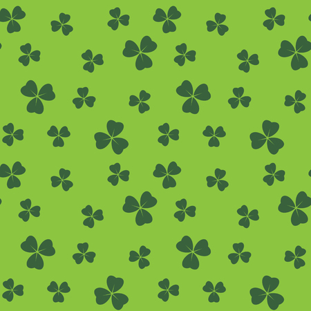 bright green seamless pattern with shamrock leaves - vector background Illustration