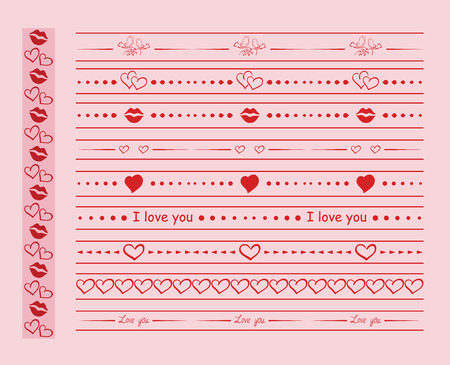 red vector ornaments with hearts and lips for romantic design