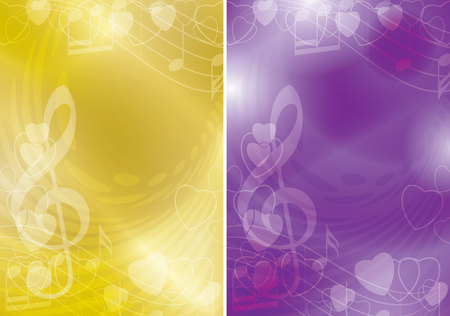 yellow and violet vector flyers with contours of hearts and gradient - music backgrounds