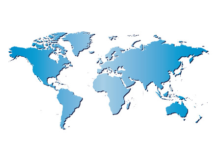 white background with blue map of the world and gradient - vector