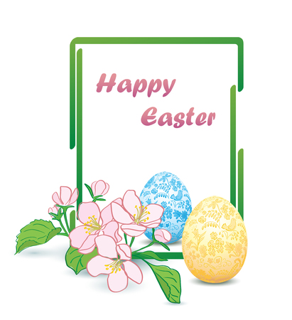 vertical rectangular green frame with apple-tree flowers and decorative easter eggs - happy easter vector card