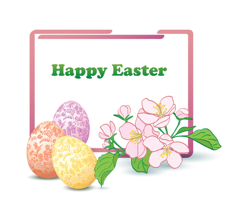 rectangular frame with apple-tree flowers and decorative easter eggs - happy easter vector card