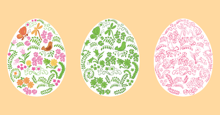 vector decorative easter eggs on white background - floral ornament