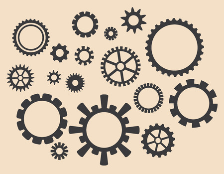 set of vector gears - various cogwheels