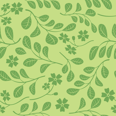 green seamless pattern with floral branches - vector decorative background