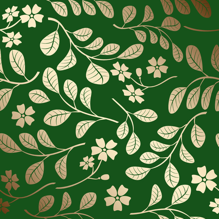 gradient pattern with gold branches - green vector decorative background