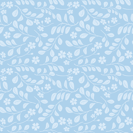 light blue leaves with flowers on blue background - seamless pattern