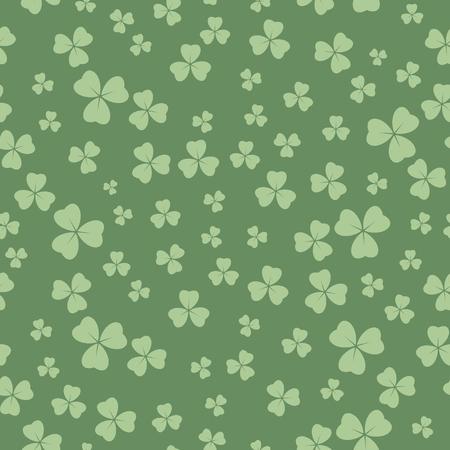dark green seamless pattern for patricks day - vector background with shamrock Ilustracja