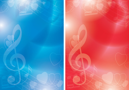 blue and red vector flyers with contours of hearts and gradient - music backgrounds Ilustracja