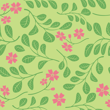 green leaves with red flowers on light green background - seamless pattern Illustration