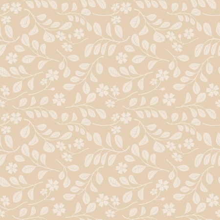 light leaves with flowers on beige background - decorative seamless pattern