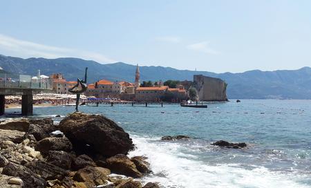 Old Town in Budva and bay - Montenegro resort Zdjęcie Seryjne