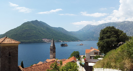 view from Perast town to islands and green hills in Bay of Kotor - Boka Kotorska -  Montenegro landscape