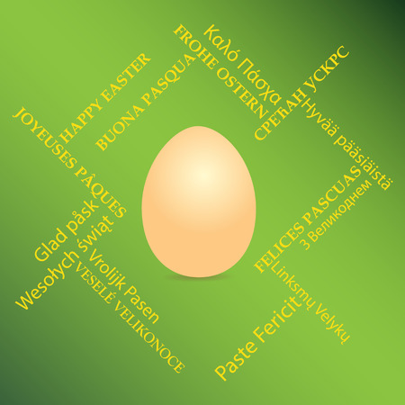 orange egg on green background and happy easter on different languages - vector card with greetings