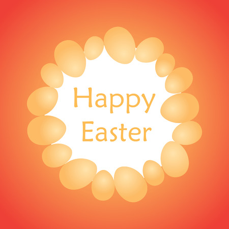 orange eggs as frame on red background and happy easter - vector