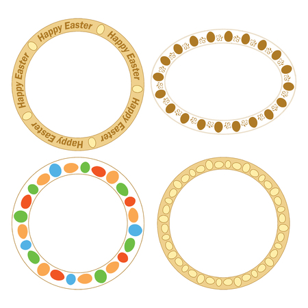 vector round and oval frames with decorative eggs for easter holiday
