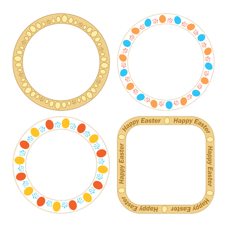 vector round and quadrate frames with decorative eggs for easter holiday