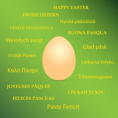 orange egg on green background and happy easter on different languages - vector