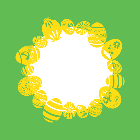 yellow decorative eggs as frame on green background - easter vector illustrations