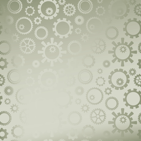 vector cog gears on grayish abstract background with gradient Ilustracja