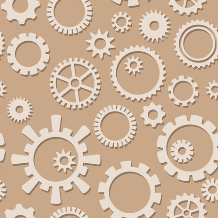 light color vector cog gears with shadow on seamless pattern - industrial background Ilustracja
