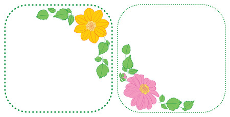 flowers dahlia in corners of rounded green frames - vector floral illustrations