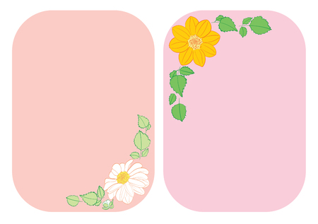 flowers dahlia in corners of rounded backgrounds - vector floral illustrations A4
