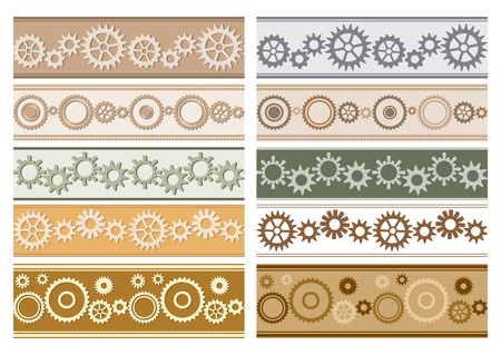 set of vector colorful seamless borders with gears - colored cogwheels