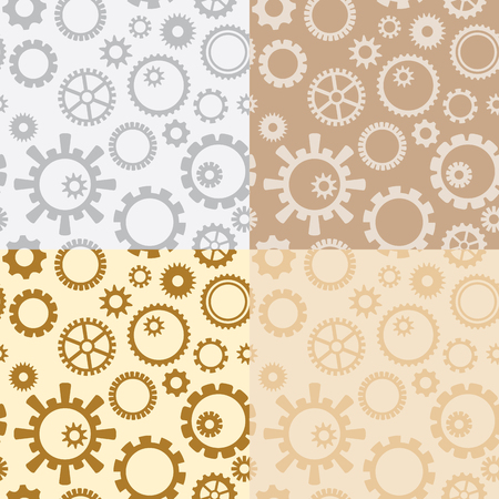 light brown and gray vector seamless patterns with gears - industrial seamless backgrounds
