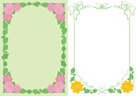 light green and white backgrounds A4 with flowers in corners - vector vertical frames