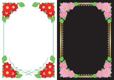 white and black backgrounds with flowers in corners - vector vertical frames with dahlias Ilustracja