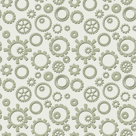 vector seamless pattern with collection of gears - light industrial background Ilustracja