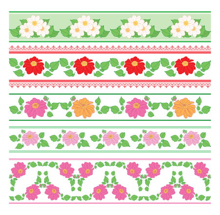 beautiful borders with flowers dahlia - vector seamless ornaments Standard-Bild - 138880412