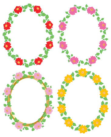flowers dahlia in decorative frames - vector oval decorations Standard-Bild - 138880418