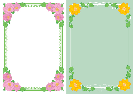 backgrounds with flowers in corners - vector vertical frames with dahlias Standard-Bild - 138880419