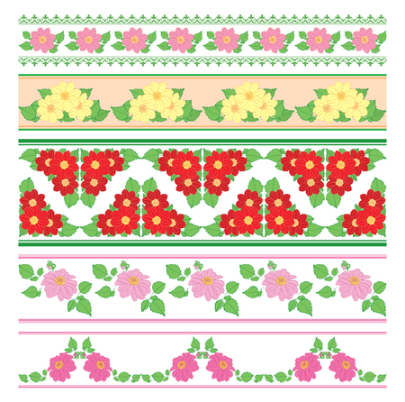 beautiful seamless ornaments - vector borders with flowers dahlia Standard-Bild - 138880430