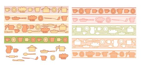 colorful kitchenware on light backgrounds - vector seamless horizontal frames