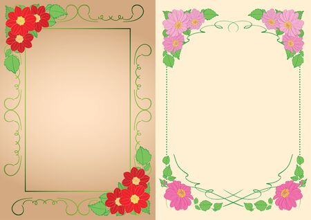 beautiful backgrounds - vector vertical frames with dahlias in corners