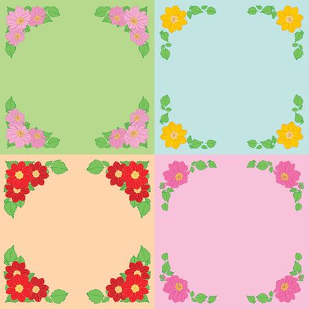dahlias flowers with green leaves as frames on color backgrounds - vector set Standard-Bild - 138880436