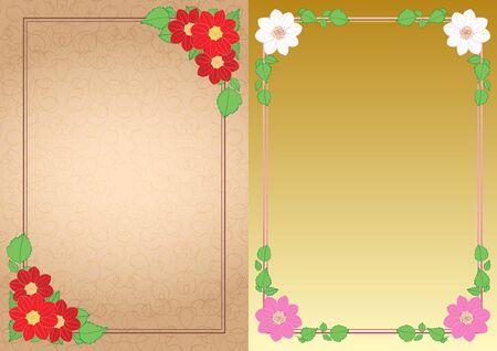 decorative backgrounds with flowers dahlias in corners - vector vertical frames Standard-Bild - 138880439