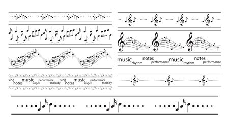 seamless borders with music notes - vector musical frames