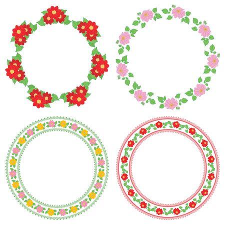 summer flowers dahlia in decorative frames - vector round decorations Standard-Bild - 138880447